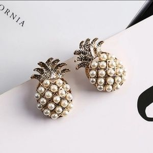 Faux Pearl Pineapple Stud Earrings